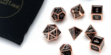 Copper Metal Polyhedral Dice