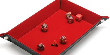Red dice tray with velvet lining