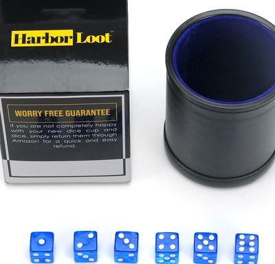 Harbor Loot Blue Dice Shaker Cup Complete with Matching Dice Set of Six Blue Translucent Dice