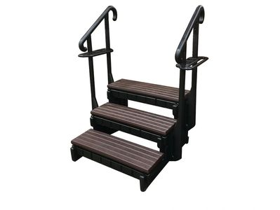 "Dual handrails, drink holders and towel bars Supports up to 400 pounds 24"" high to top step Snaps to"