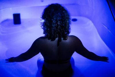 woman in a sensory deprivation tank