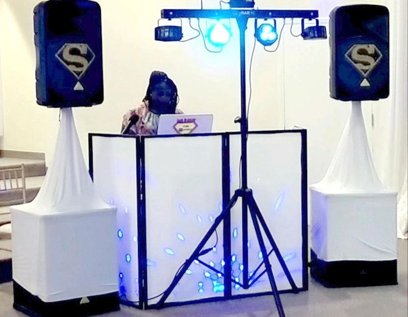 8 uplights, surround party lights, fog machine, bass cabinets and speakers, elegant all-white setup
