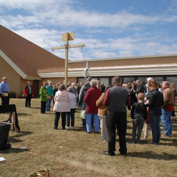 In this photo, we gather with worshipers from other churches to raise the cross on Good Friday.
