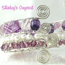 SS Wire Wrapped Gemstone, Pearl, Crystal Bangle