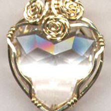 Gold Filled Wire Wrap Clear Crystal Heart Pendant.