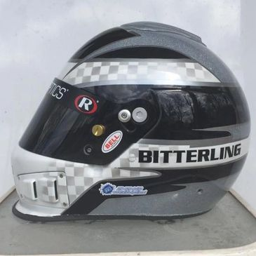 Trevor Bitterling's Bell Racing BR-1 racing helmet we custom painted featuring Black, White, Silver Pearl, and Silver Metal Flake paint.