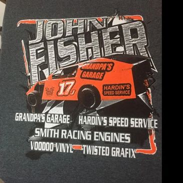 John Fisher's shirts we screen printed.  S&M Racing is a team in our sponsorship program.