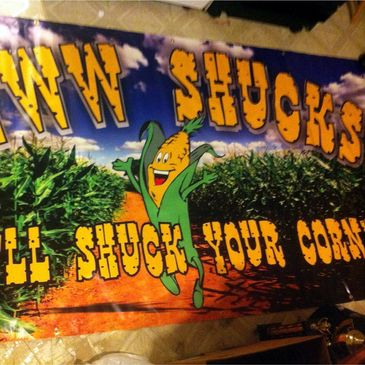 A 4 foot x 8 foot full color banner we printed for a summer pop-up corn roaster.