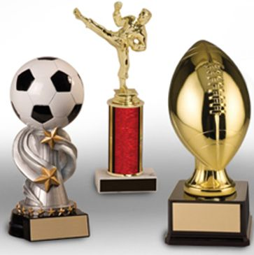 Sports trophy and resin awards for popular team sports.