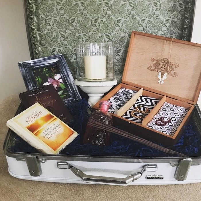 Refurbished antique suitcase with custom cigar jewelry box,  & select items for that special person