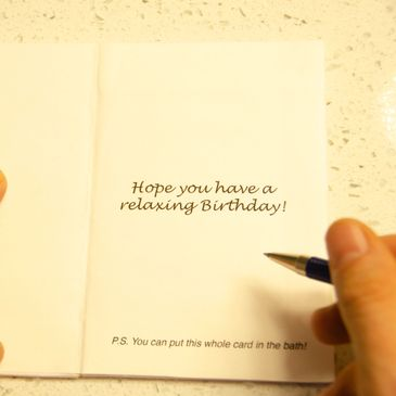 Bath bomb card, write on it and watch it dissolve