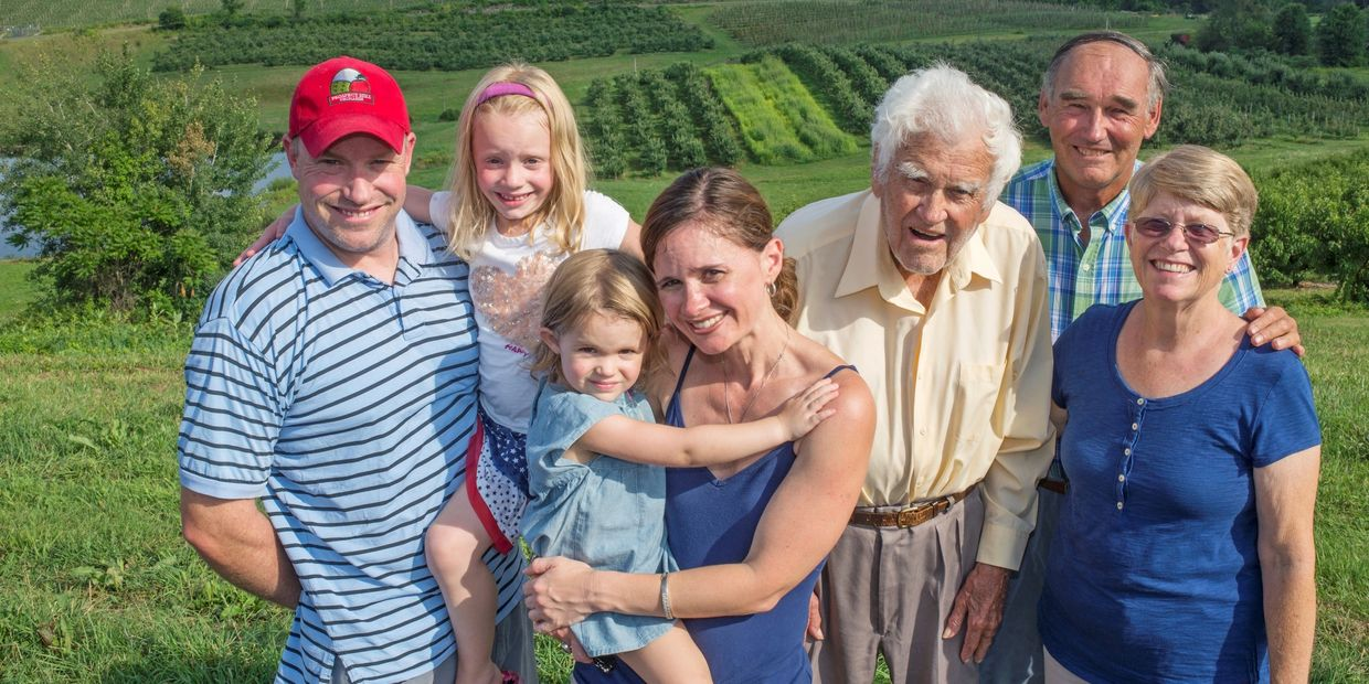 Family, seven generations, organic apples, conventional IPM