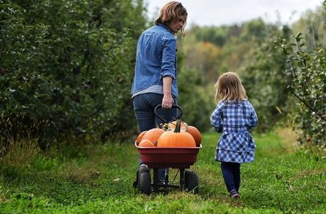 mom and daughter transporting pumpkins through the orchard with a wagon.