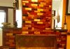 Fireplace mosaic 34 different hardwoods