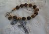 "5004 Wooden beads with Infant of Prague medal, Crucifix, hope, antiqued, 9"" end-to-end, $10"