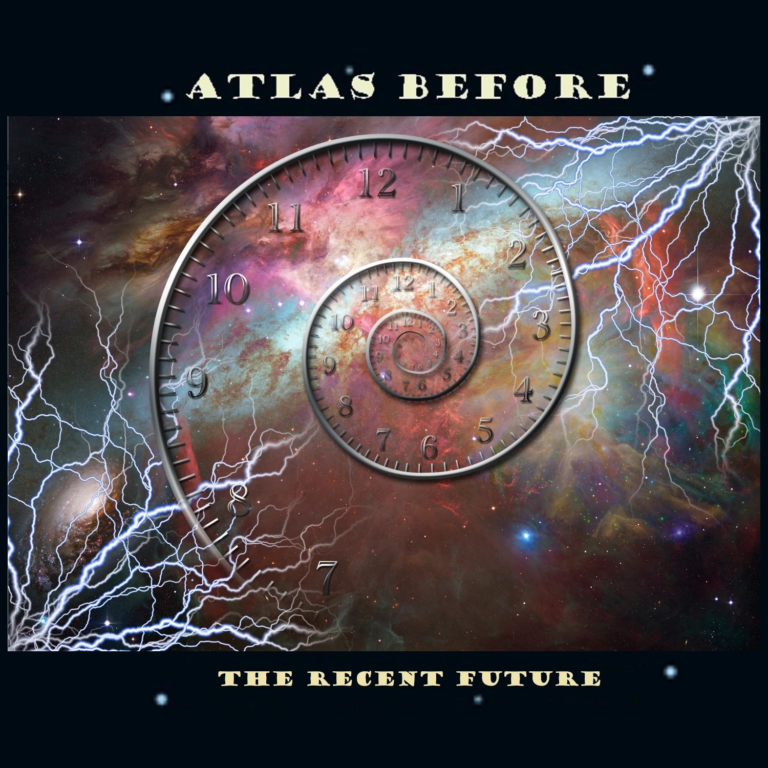 Cover art for the progressive rock CD 'The Recent Future' by 'Atlas Before' with time travel clock.