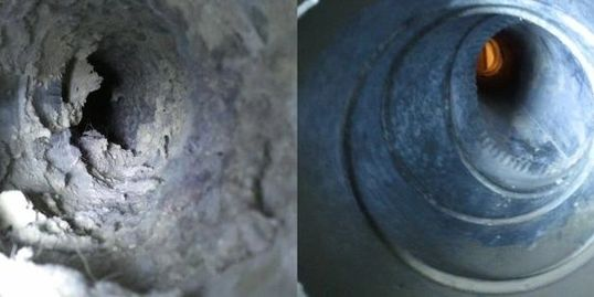 Dirty dryer duct   Clean dryer duct