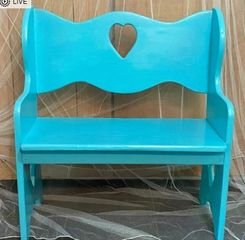 Antique Sibling Love Seat in Tahiti Blue Baby Shark Themed First Birthday or Baby Shower