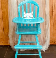 Blue Antique High Chair for First Birthday Cake Smash Photos