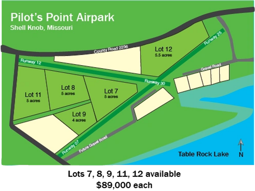 Pilot's Point Airpark, Lots Available, Prices, Plat