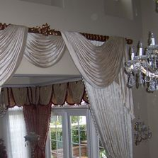 Silk Draperies Swags, Cascades, Living Room and Dining Room accent Decorative Wood Rod & Rings.