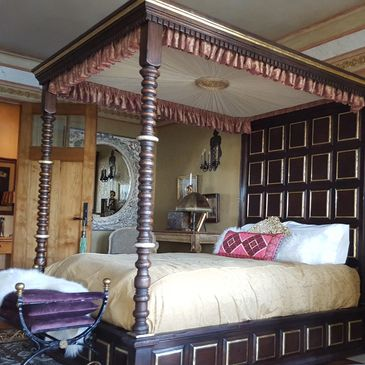 Bed Canopy for Bedroom or Master Bedroom with Bedspread, Pillows, Pillow Shams, Valance Bed Ensemble