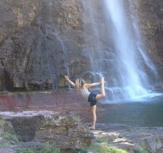 Yoga under waterfall