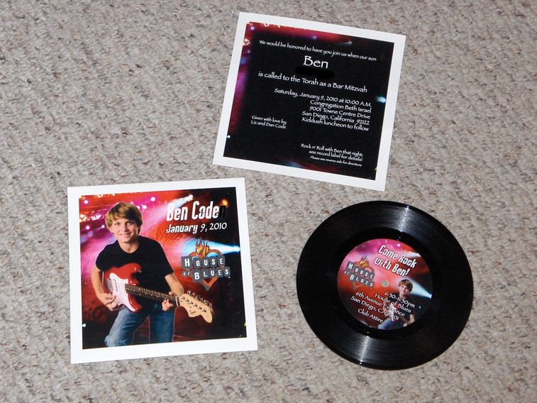 "custom invitation vinyl records 7"" 45rpm printed sleeve cover labels personalized"