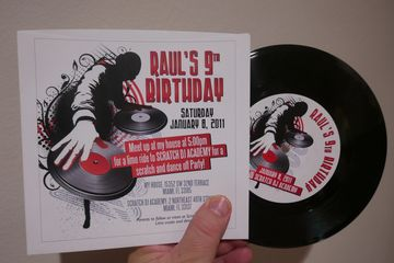 "custom printed invitation vinyl records DJ scratch dance party 7"" 45rpm personalized"