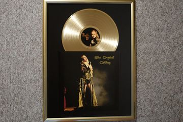 "custom gold silver platinum award vinyl record 12"" printed sleeve jacket cover in frame"