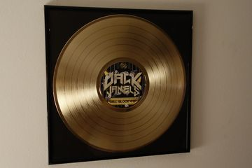 "custom gold silver platinum award vinyl record 12"" in small frame"