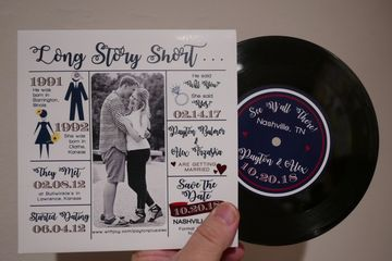 "custom printed invitation vinyl records wedding save-the-date 7"" 45rpm personalized"
