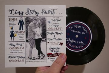 "7"" 45rpm wedding save-the-date invitation vinyl records custom one-off"