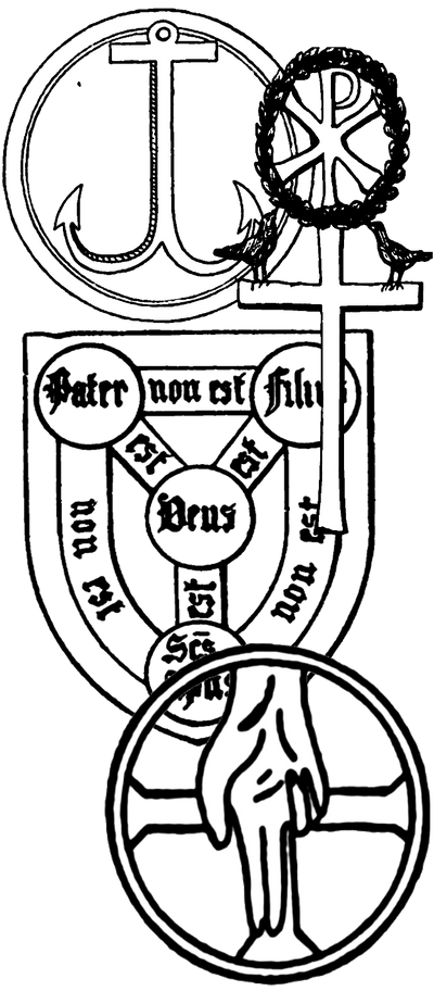 A series of shapes used as Christian symbols including and anchor, labarum, Trinity Shield, and halo