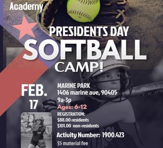 SANTA MONICA SOFTBALL ACADEMY PRESIDENTS DAY CAMP