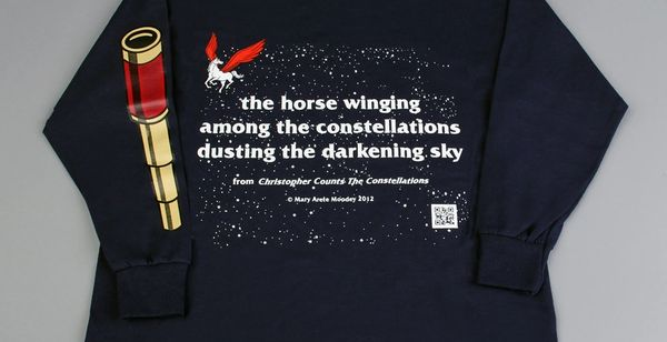 The back side of the Telescope T-shirt continues the text screened on the front.