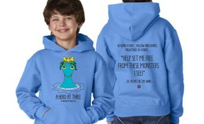The book title and sea creature decorate the front side of the hoodie; story text on back.