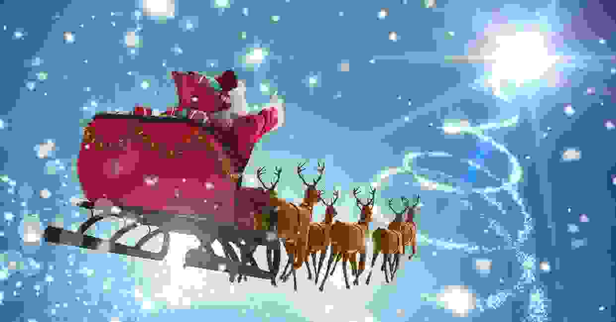 """Santa in his red sleigh with bells and team of reindeer flying through the night sky"""