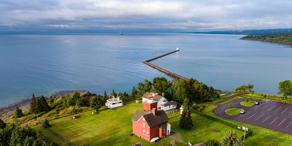 Drone photo of a lighthouse on the north shore in Two Harbors Minnesota
