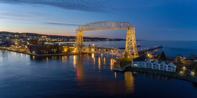 Drone photo of the lift bridge in Duluth, Minnesota.