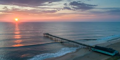 Morning Aerial Photo of the pier in the Outer Banks, North Carolina.