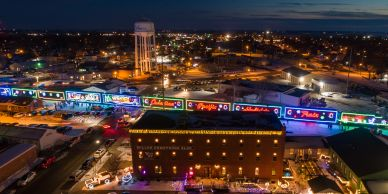 Aerial Photo of the Canadian Pacific Holiday train in Waseca, Minnesota.
