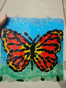 Hanging Fused Glass Butterfly