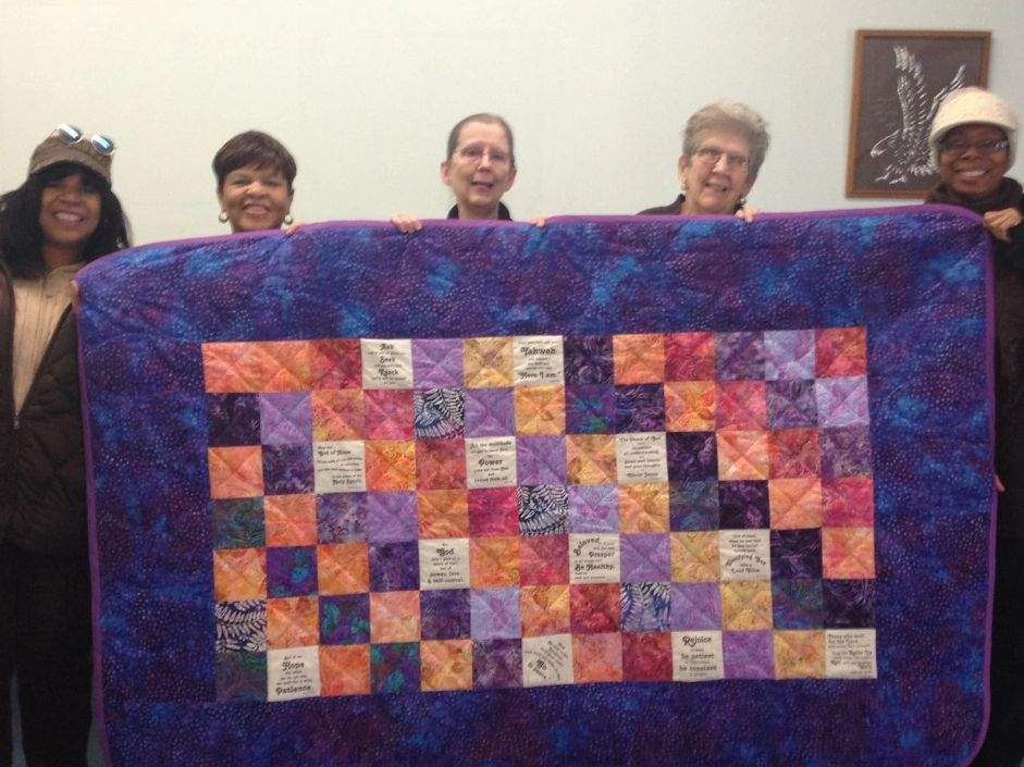 True Vine ladies with prayer quilt.
