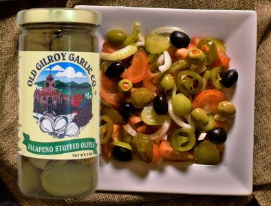 Jalapeno Stuffed Olives from Old Gilroy Garlic Co.® are always California grown, fresh and delicious