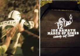 caddyswag topgolf golfcooler sharktank customize logo embroidery Joe Namath Broadway Joe Jets