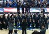 Singing the national anthem at the Dallas Wing's season opener