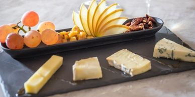 Fruit, nut, cheese plate on charter flights, in-flight catering