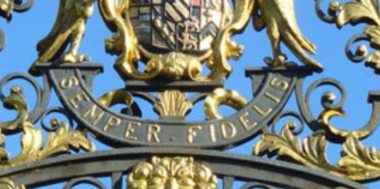 Clandon Park - Earls of Onslow motto Semper Fidelis, one of the entrance gates to Clandon Park.
