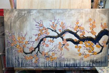 This a 4 panel painting on Chinese pages.  I wanted to depict a serene garden